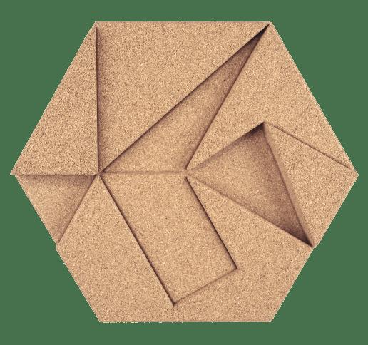 korkovy obklad hexagon bezova