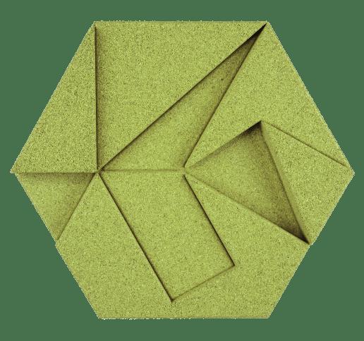 korkovy obklad hexagon zelena