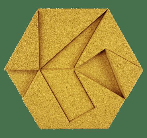 korkovy obklad hexagon zlta