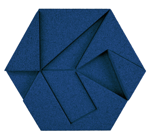 korkovy obklad hexagon modry